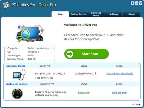 PC Utilities Pro Driver Pro 3.2.0.2 Full indir