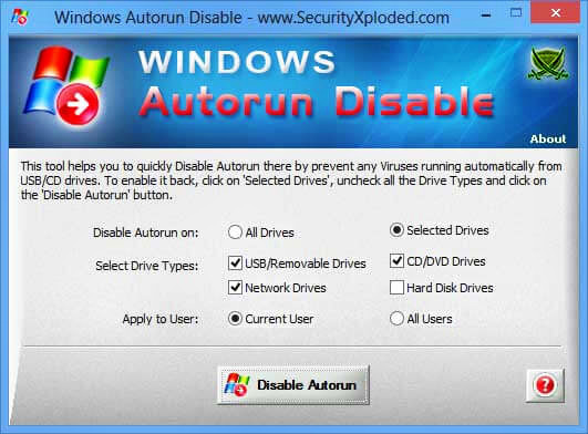 Windows Autorun Disable indir